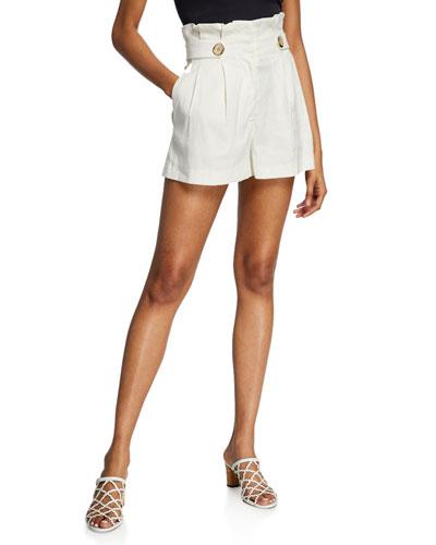 Gwen High-Rise Linen Paperbag Shorts