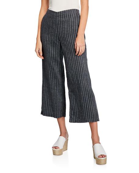 Eileen Fisher Pants LINEN PINSTRIPE WIDE-LEG CROPPED PANTS