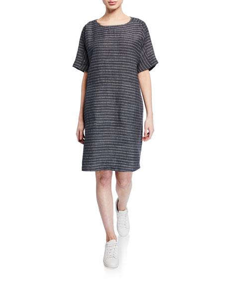Eileen Fisher Dresses PLUS SIZE PINSTRIPE DELAVE LINEN SHORT-SLEEVE TUNIC DRESS