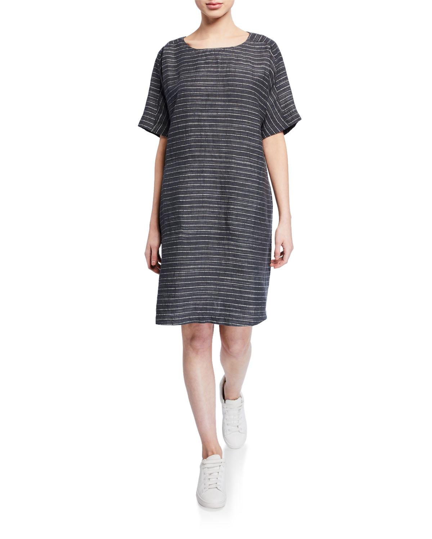 fc319f9177e Eileen FisherPlus Size Pinstripe Delave Linen Short-Sleeve Tunic Dress