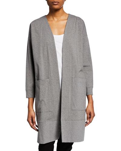 Open-Front Bracelet-Sleeve Heathered Jersey Jacket