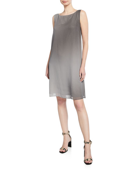 Eileen Fisher Dresses PETITE WATERCOLOR SHEER SLEEVELESS SHIFT DRESS