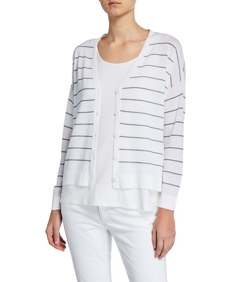 Eileen Fisher Tops PETITE STRIPED V-NECK BUTTON-FRONT BOXY CARDIGAN