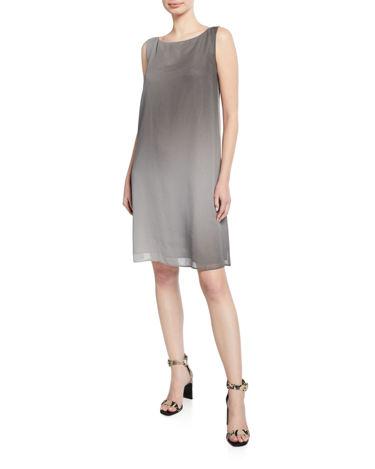 80f9d175f2062 Eileen Fisher Plus Size Watercolor Sheer Sleeveless Shift Dress ...