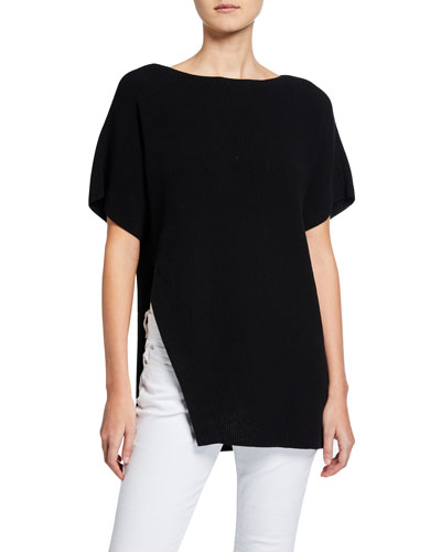 High-Neck Elbow-Sleeve Asymmetric Cord Tunic Sweater