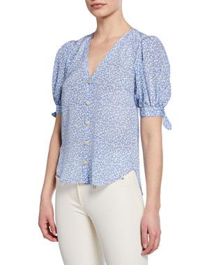 9d60c866858d1 Veronica Beard Gizela Floral-Print Button-Front Puff-Sleeve Silk Blouse