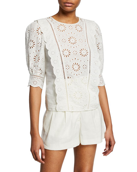Veronica Beard Tops GALE FLORAL EYELET 3/4-SLEEVE BLOUSE