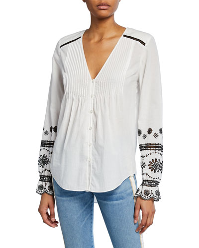 Siona Embroidered Button-Front Top