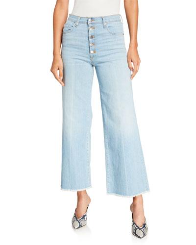 Kirra Frayed Straight-Leg Jeans