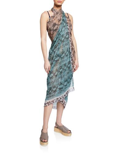 Timeless Snake-Print Silk-Cotton Sarong