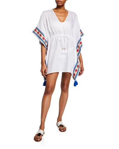 Ravena Embroidered Linen Beach Caftan