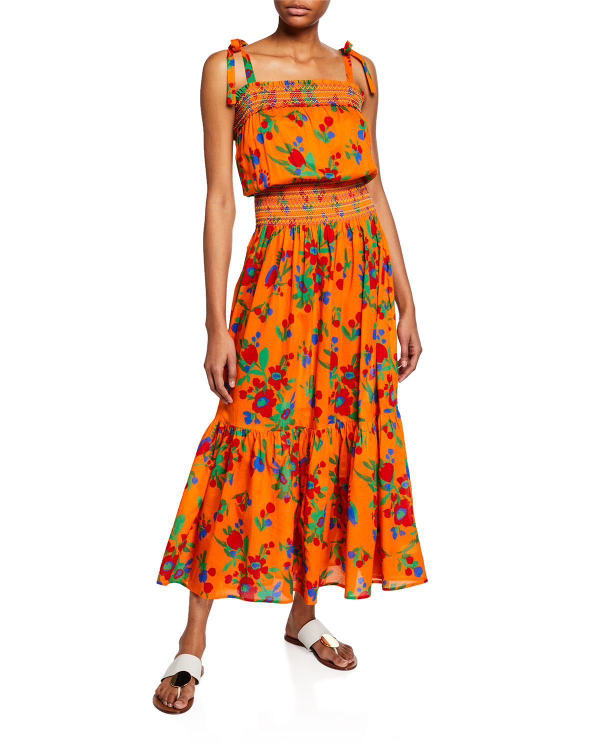 2b5b5d09d5 Tory Burch Floral-Print Smocked Cotton Maxi Dress