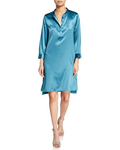 Eileen Fisher Dresses MANDARIN-COLLAR 3/4-SLEEVE SILK CHARMEUSE SHIRTDRESS