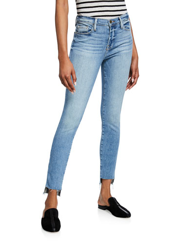 Le High Skinny Jeans with Staggered Raw Hem
