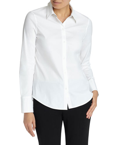 Linley Button-Down Blouse with Chain Trim