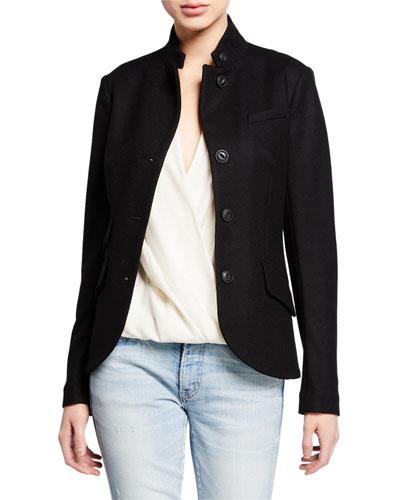 Slade Wool Stand-Collar Blazer