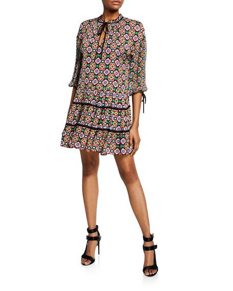 Alice + Olivia Arnette Medallion-Print Tiered Tunic Dress