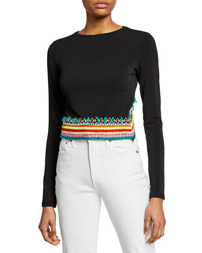 Delaina Embroidered Long-Sleeve Crop Top