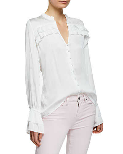 Anguilla Long-Sleeve Blouse with Layered Ruffle Trim