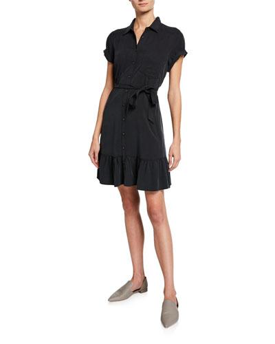 Callan Belted Flounce Shirt Dress