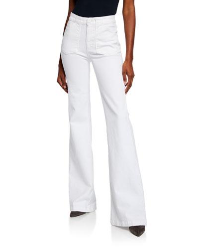 Genevieve Flare-Leg Jeans w/ Utility Pockets