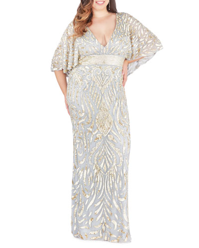 Plus Size Sequin Embellished Plunge-Neck Drape-Sleeve Gown