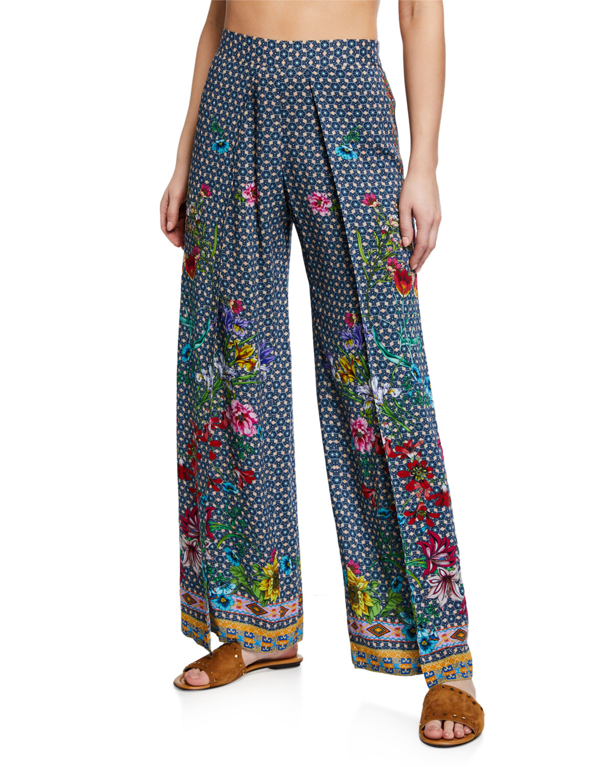 Johnny Was Dolce Dream Printed Split-Leg Coverup Pants  ae2a55b1270