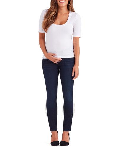 Ankle Skinny Maternity Jeans w/ Faux Pockets