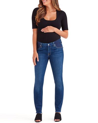 Ankle Skinny Maternity Jeans w/ Frayed Hem