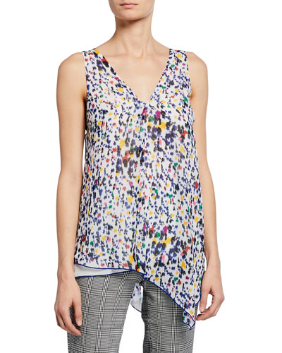 Printed V-Neck Sleeveless Asymmetric Tank