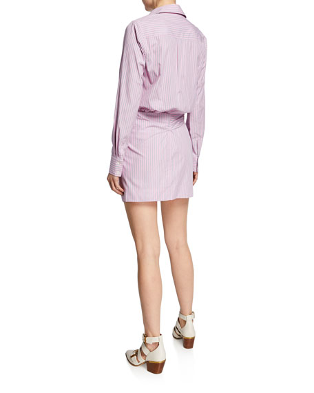Derek Lam 10 Crosby Striped Poplin Tie-Front Long-Sleeve Shirtdress
