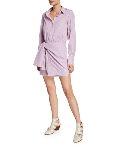Striped Poplin Tie-Front Long-Sleeve Shirtdress