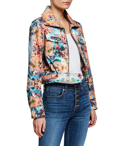 Berty Printed Cropped Zip-Front Jacket