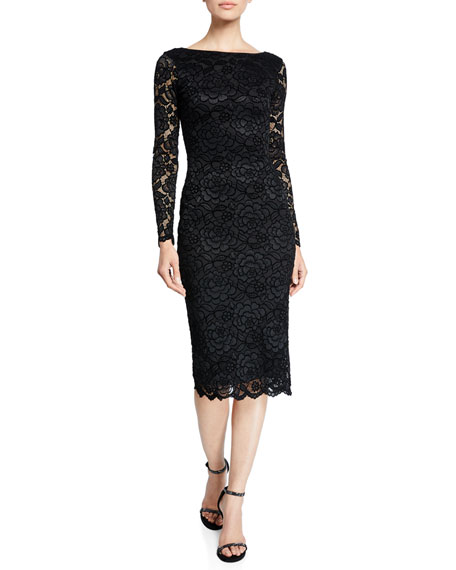 Dress The Population Emery Long-Sleeve Velvet Lace Midi