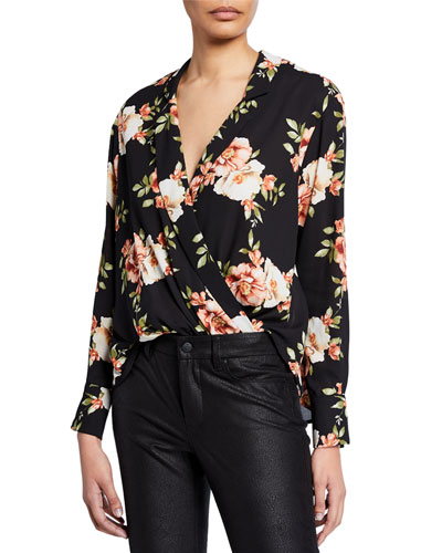 Mimi Floral Wrap-Front Draped Top