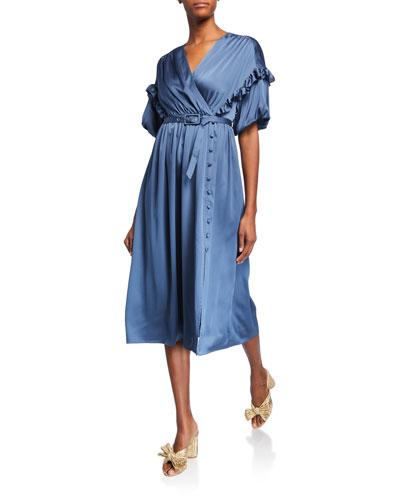 short-sleeve belted satin midi dress w/ ruffle trim