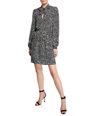 a5fafd7ba842 kate spade new york pop scallop tie-neck long-sleeve crepe dress