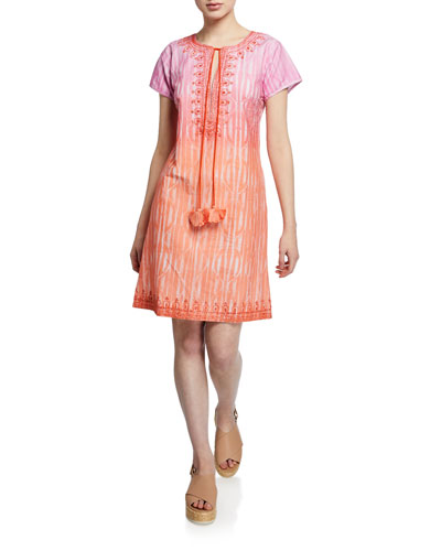 Heather Ombre Cap-Sleeve Shift Dress