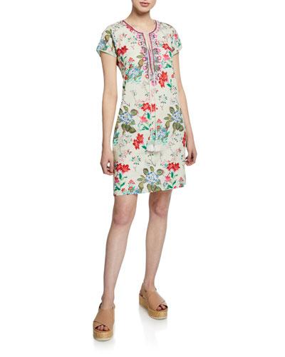 Fleur Floral-Print Cap-Sleeve Shift Dress