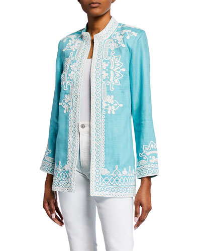 Ceci Open-Front Embroidered Linen Jacket
