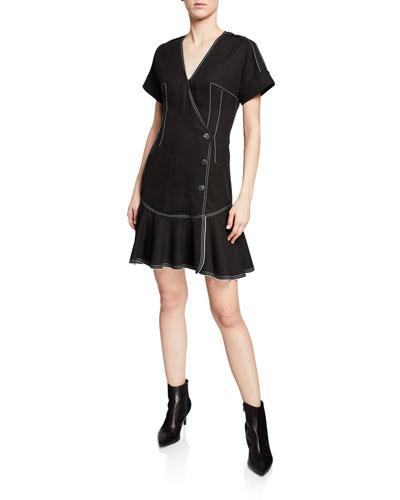 Surplice-Neck Short-Sleeve Faux-Wrap Dress w/ Topstitch Details