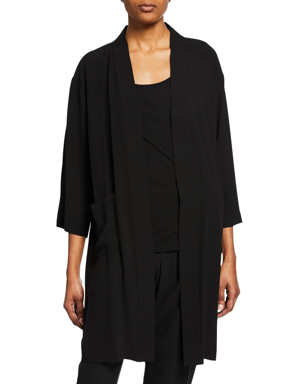 01b56f56bd Eileen Fisher Plus Size Silk Crepe Kimono Jacket