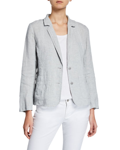 Eileen Fisher Blazers PLUS SIZE SHAPED TWO-BUTTON METALLIC LINEN BLAZER