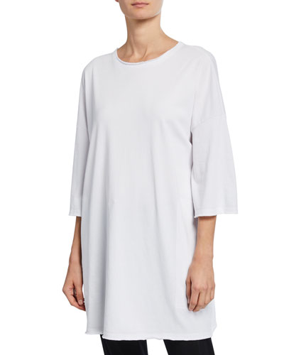 French-Terry 3/4-Sleeve Raw-Edge Pocket Tunic