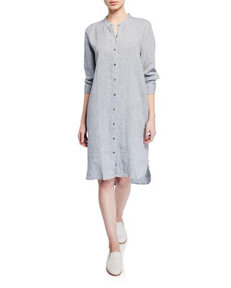 Eileen Fisher Dresses PETITE YARN-DYE ORGANIC LINEN HANKY SHIRTDRESS