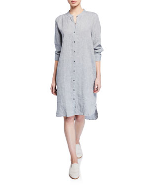 ee14a7b5447e9 Eileen Fisher Plus Size Yarn-Dye Organic Linen Hanky Shirtdress
