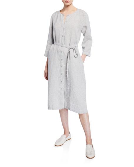 Eileen Fisher Dresses PETITE BUTTON-FRONT SPARKLE LINEN 3/4-SLEEVE SHIRTDRESS