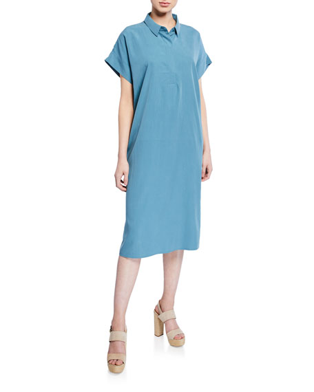 Eileen Fisher Dresses PETITE SAND-WASHED COLLARED SHIRTDRESS