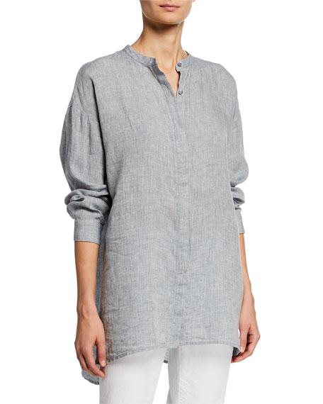 Eileen Fisher T-shirts MANDARIN COLLAR BUTTON-FRONT LONG-SLEEVE HANKY LINEN SHIRT