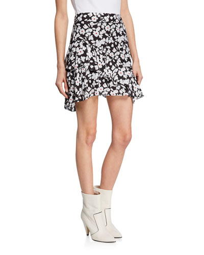 Tiered Ruffle Floral Asymmetrical Mini Skirt